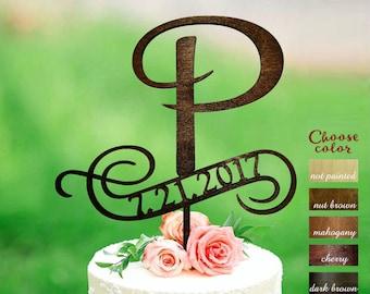 Letter p cake topper, Initials Cake Topper, letter and date wedding topper, Wood Cake Topper, cake topper letter p, Cake topper date, CT#144