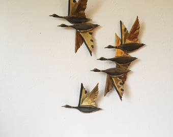 Mid Century Modern Ducks / Geese In Flight Wall Art + Set of 3 + Brass and Copper + MCM Art