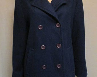 Vintage 1990's Pendleton Classic Double Breasted Navy Blue Wool Coat Size 10 Made In USA