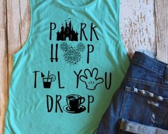 Park Drop Til You Drop Ladies Muscle Tank, Mickey, Disney, Vacation, Park Hop