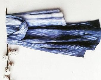 Cotton/ Silk Indigo Blue Artistic Shawl, 90cm x 142cm,  Hand Made