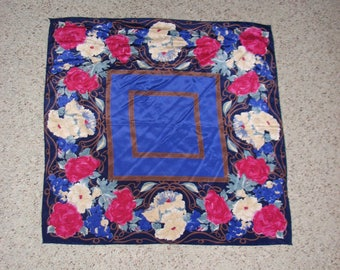 VINTAGE VERA NEUMANN Silk Scarf Pink Roses Blue Grapes Cream Laurel Brown Square Handrolled Hem