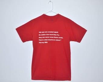 LGBTQ / Equality 'Harvey Milk' quote red short sleeve T-shirt, vintage, size adult medium