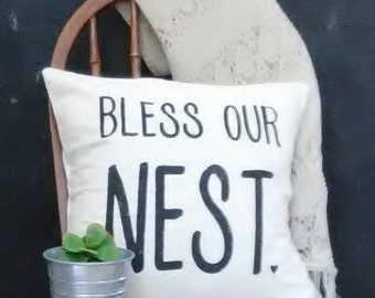 Bless Our Nest Pillow Cover| Farmhouse Pillow Cover|Rustic Pillow Cover|
