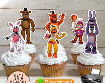 4 files Five Night's At Freddy's Cupcake and Cake Topper Printable - FNAF Birthday Party Supplies - Instant Download