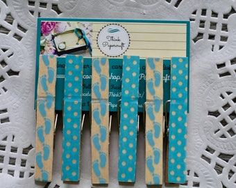 6 wooden clothes peg set, blue footprint and polka dot pegs, wooden pegs, clothespins. House-warming, baby shower, Mother's Day gift set