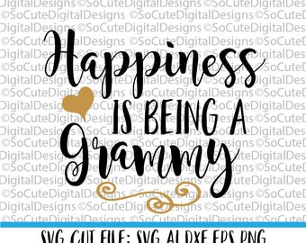 Happiness is being a Grammy SVG File, granny svg, svg saying, grandma svg, grammy svg, family svg, PNG Cricut, Silhouette, Cut File