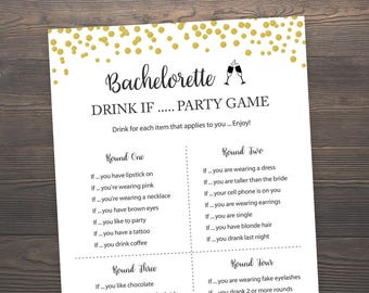 Gold Bachelorette Drink If Party Game, Printable Bachelorette Games, Hen's Night, Drink If Game, Hen Party, Gold Bachelorette Party, J001