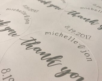 Thank you stickers, Wedding, Favors