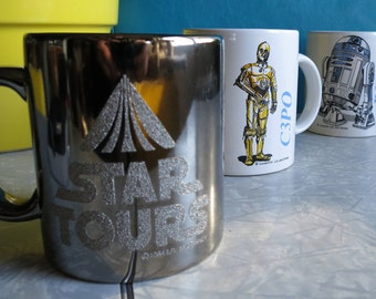 Star Wars Droids Mug Trio! Star Tours Ride! Vintage! One Black Chrome with sparkly logo! One R2D2 and One C3PO with blue logos! 3 Mugs!
