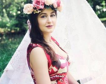 Peach rose flower crown Bridal floral hair wreath Wedding headwreath girls Boho flower crown Bridesmaid hair vine Flower Crown Headband Halo