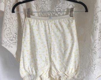 Vintage 1960's Yellow Floral Garter Panties -Never Worn