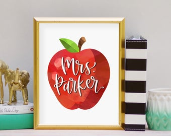 Apple Name Print - Instant Download, Digital Print, Printable Art, Teacher, Back to School, Perfect Gift for Teachers, Classroom Art