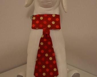 Dog Collar Neck Tie - Medium - Red/Gold Dots