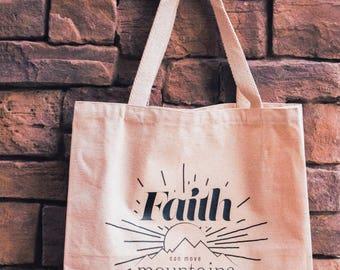 Faith Can Move Mountains Reusable Canvas Tote Bag