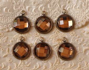 Glass Faceted Topaz Drops 12 mm Rhinestone Round Bezel Set Charms Pendants Brown Stones Brass Setting 2 Pieces