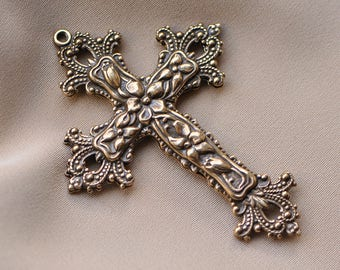 Gothic Style Large Christian Floral Cross Made in USA