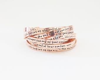 Personalized Bracelet // Custom Hand Stamped +  Friendship Bracelets + Mantra + Copper Bracelet + Nevertheless She Persisted + Feminist