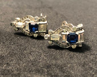 Mazer Signed Vintage Rhinestone Clip-On Earrings