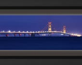 "16"" x 48"" print 'Mighty Mac in the Mist', double black mat, black wood frame (total size 28"" x 60"")"