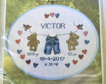 "Welcome Baby boy announcement cross stitch kit by Permin.  26cm x 20cm  10"" x 8"""