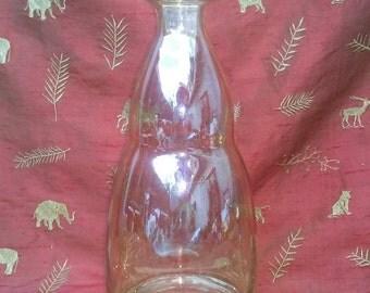 Iridescent Amber Glass Mouth/Hand Blown Bottle