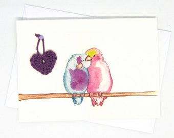 Love birds card / Card for couple / Gift for lover / Bird greeting card / Crochet greeting card / Bird Aquarel print / love anniversary card