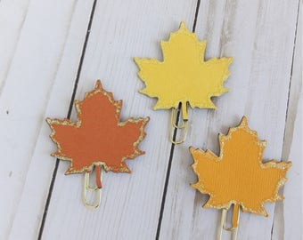Sparkly Fall Leaves on Large Gold Paperclip Planner Clip Bookmark