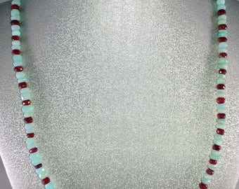 """17"""" Light Blue Peruvian Opal & Rhodolite Garnet Gemstone Necklace"""