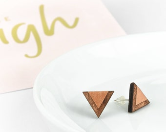 Earrings Wooden Triangle Copper