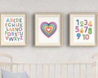 nursery prints,alphabet printable,numbers print,nursery printables,baby room wall art decor,nursery print set of 3,rainbow alphabet numbers