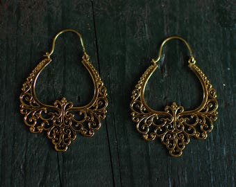Impressive, royal, exotic earrings - Gold - Large