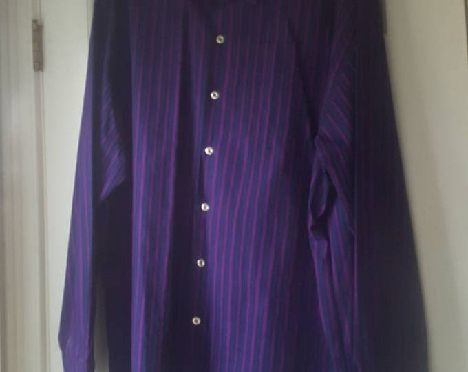 Marimekko Jokapoika Button Down Shirt 100% Cotton XL Size 50 Purple Vertical Stripes