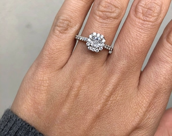 0.97ctw Cushion Diamond Halo Engagement Ring, 14k White Gold, EGL certified (102512 BUAW)