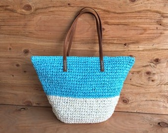 Woven Straw Tote Bag // Turquoise and White Straw Bag // Two Tone Straw Beach Bag