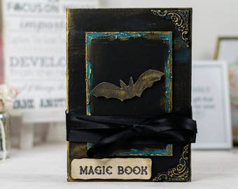 Halloween Magic Notebook, Black and gold, Festive magic book, Diary Journal Photo Album, With bat, Gift for her him, decoration, handmade