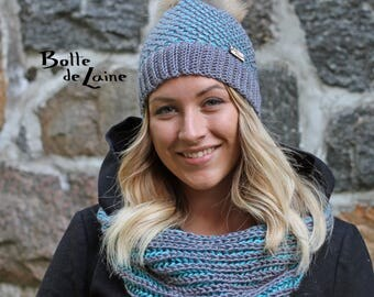 Kit ARTIC, women hat, women infinity scarf, grey and aqua, Tunisian Crochet and knitting