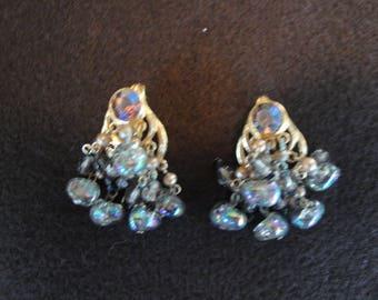 Vintage costume clip earrings