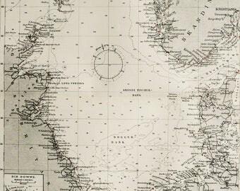 1895 Antique map of THE NORTH SEA. Atlantic Ocean. Nordsjøen. Norwegian Sea. Great Britain. Norway. Denmark Scandinavia. 123 years old chart
