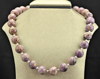 Charoite 14mm .925 Silver Necklace