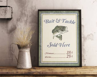 Man Cave Printable | Fishing Printable | Fishing Decor | Bait and Tackle | Rustic | Industrial | Wall Decor | Instant Download | Man Cave