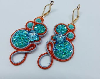 Earring soutache  Orange-blue!