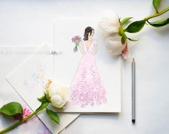 Fashion illustration Fashion print Fashion art print Fashion sketch Girl Illustration Bride in dress Fashionista card Fashion drawing