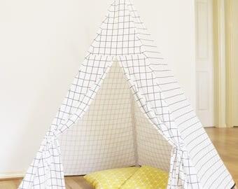 Kids Teepee - White Checker Teepee // teepee tent // Canvas Linen Teepee//Play Tent//Kids Teepee//White