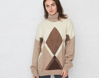 Vintage Brown Beige RED PIPERS Turtle Roll Neck Knit Jumper Sweater