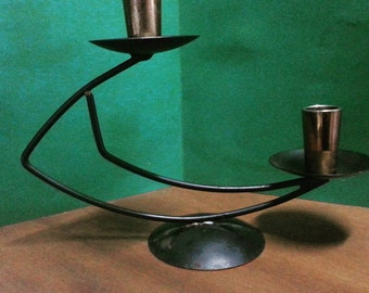 Vintage Australian Wrought Iron Copper Double-Arm Candelabra by Turner