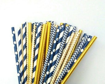 Navy & Gold Paper Straws - Navy Blue and Gold Drinking Straws - Navy Blue and Gold Party Decorations - Navy and Gold Wedding Decorations