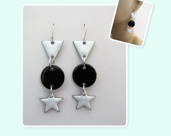 Black and White Triangle, Circle and Star Enamel Sterling Silver Long Geometric Earrings