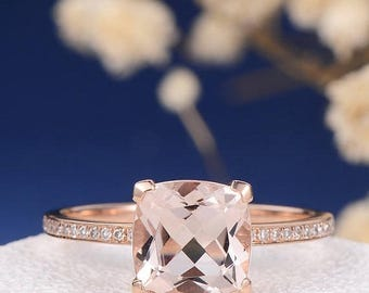 Cushion Cut Morganite Engagement Ring Rose Gold Simple Wedding Ring Pave Half Eternity Diamond Bridal Promise Anniversary Women Everyday