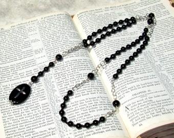 Rosary - Catholic Rosary - Rosary Necklace - Chaplet - Beaded Rosary - Rosary Catholic - Prayer Aid - Cross Necklace - Black Onyx Rosary